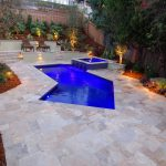 Modern pool in backyard of home in San Diego, California