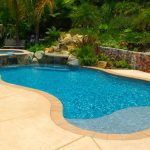 A freeform zero entry pool with a raised spa against a tropical landscape in a residential backyard.